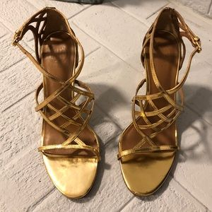 Sz 9.5 used Tory Burch Gold Strappy Heels